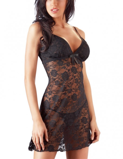 Cottelli Collection Black Flower Lace Dress With Thong