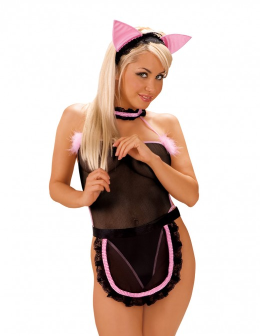 Roxana Black And Pink Cat Uniform