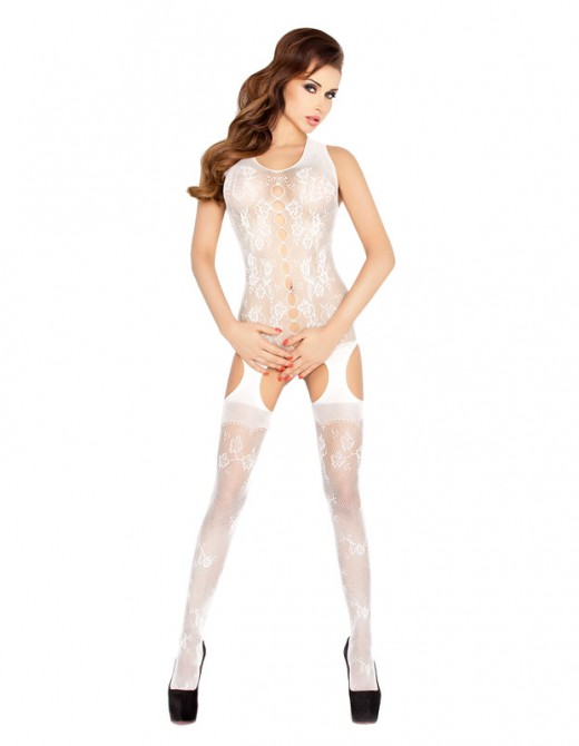 Passion Open Crotch Flower Vest Body Stocking White