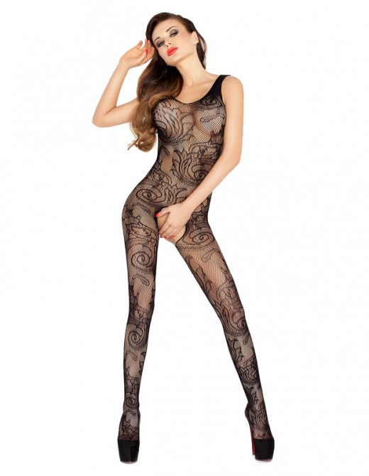 Passion Open Crotch Full Patterned Body Stock Black