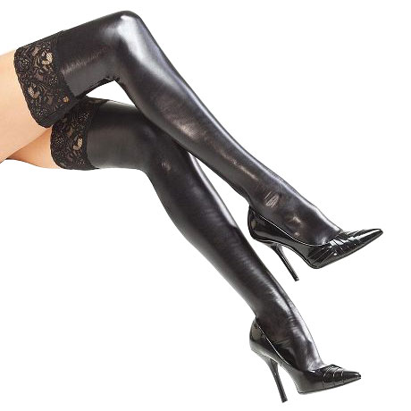 Coquette Wet look Stockings With Lace