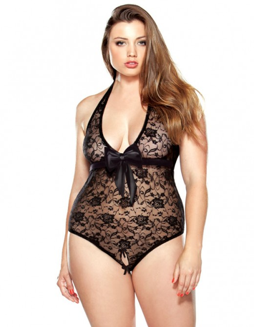 Fantasy Curve Lace Teddy With Split Crotch